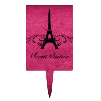 Pink Vintage French Flourish Sweet 16 Cake Pick
