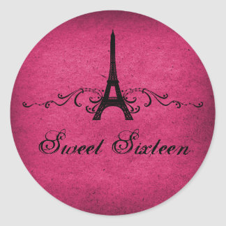 Pink Vintage French Flourish Sweet 16 Stickers