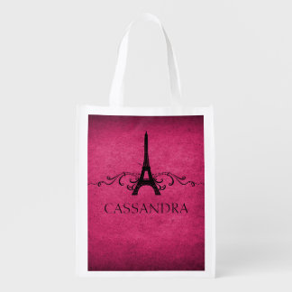 Pink Vintage French Flourish Grocery Bags