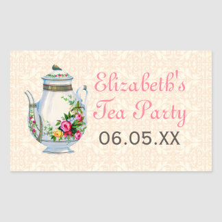 Pink Vintage French Tea Party Favor Stickers