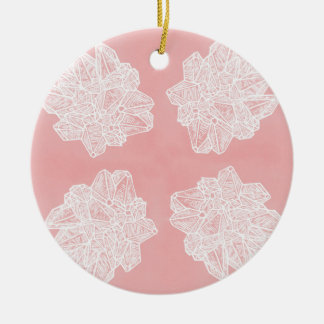 Pink Vintage Geode Pattern Ceramic Ornament