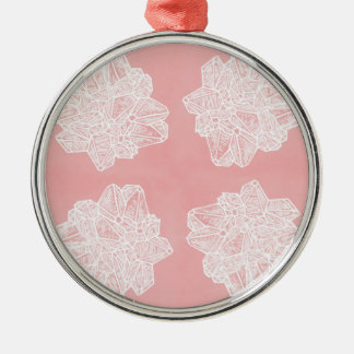 Pink Vintage Geode Pattern Metal Ornament