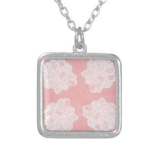 Pink Vintage Geode Pattern Silver Plated Necklace
