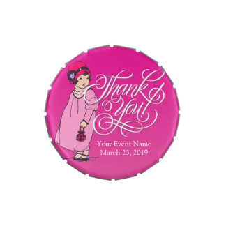 Pink Vintage Girl Thank You Birthday Party Favor Candy Tin