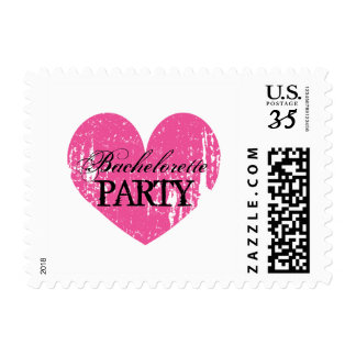 Pink vintage heart bachelorette party stamps