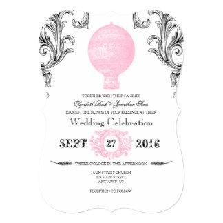 Pink Vintage Hot Air Balloon Wedding Invites