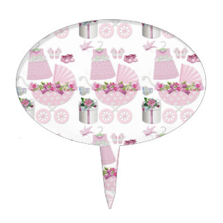 Pink Vintage Its A Girl Cake Topper