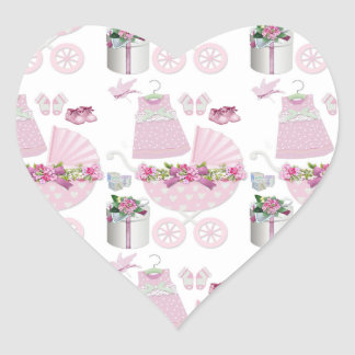 Pink Vintage Its A Girl Heart Sticker