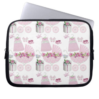 Pink Vintage Its A Girl Laptop Computer Sleeves