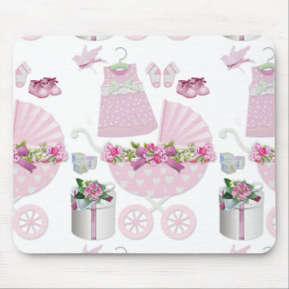 Pink Vintage Its A Girl Mouse Pad