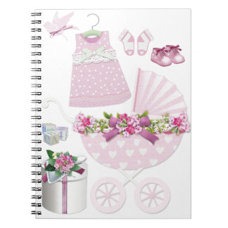 Pink Vintage Its A Girl Spiral Notebook