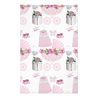 Pink Vintage Its A Girl Custom Stationery