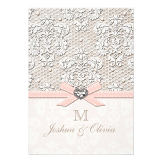 Pink Vintage Lace and Pearls Glamour Wedding Card