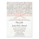 Pink Vintage Lace and Pearls Glamour Wedding 5x7 Paper Invitation Card