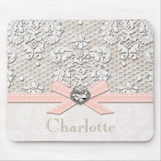 Pink Vintage Lace and Pearls Mouse Pad