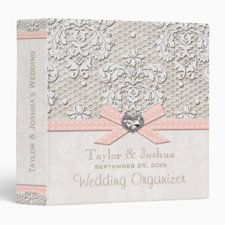 PInk Vintage Lace and Pearls Wedding Organizer 3 Ring Binder