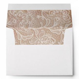 Pink Vintage Lace Invitation Envelope