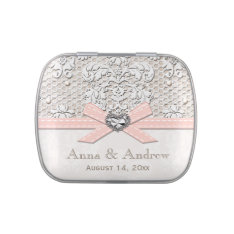 Pink Vintage Lace Pearl Wedding Favor Candy Tin at Zazzle