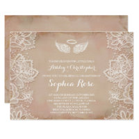 Pink Vintage Lace Religious Invitation