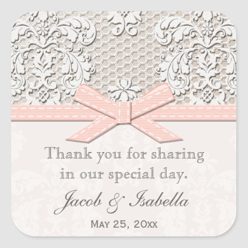 Pink vintage lace wedding favor labels stickers from zazzle