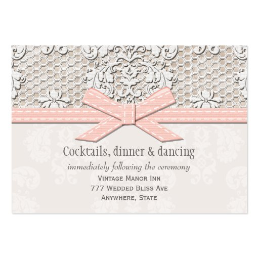 PInk Vintage Lace Wedding Reception Enclosure Card Business Cards