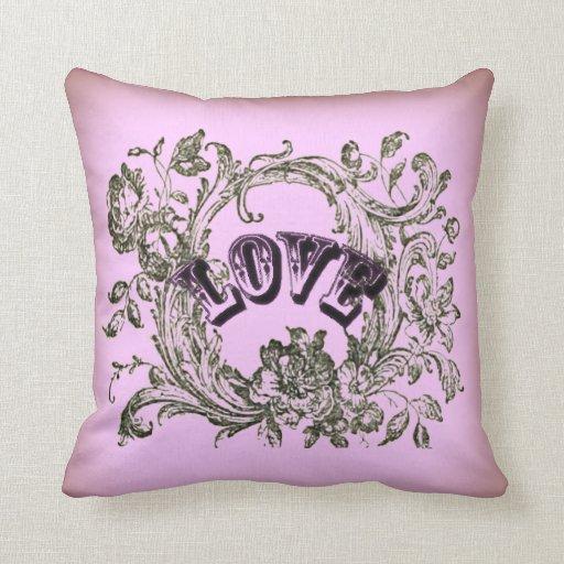 Pink Victorian Pillows : Pink Vintage Love Victorian Decorative Pillow Zazzle