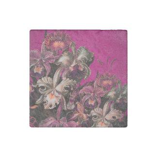 Pink Vintage Oil Brush Painting Stone Magnet