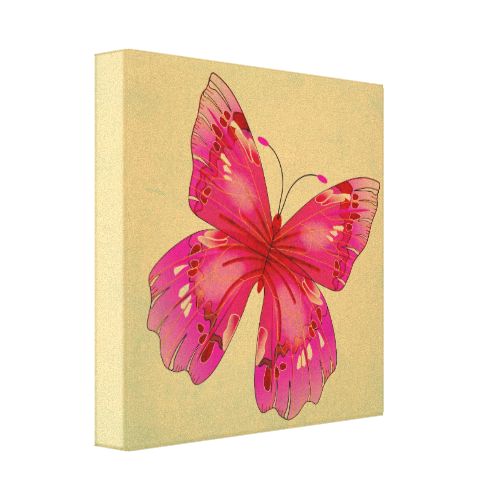 Pink vintage oriental butterfly art stretched canvas prints