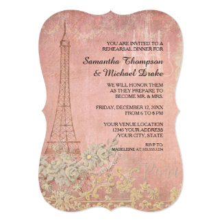 Pink Vintage Paris Parisian Rehearsal Dinner Card