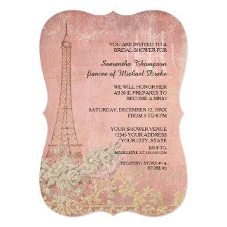 Pink Vintage Paris Parisian Stylish Bridal Shower Card