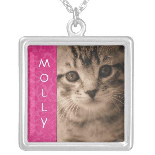 Pink Vintage Personalized Pet Photo Necklace