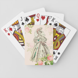 Pink vintage playing cards with victorian lady