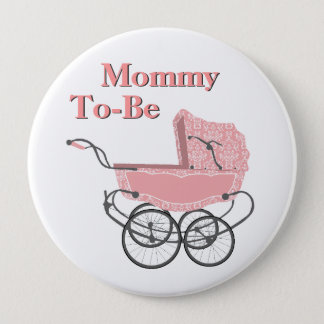 Pink Vintage Pram Mommy To Be Baby Shower Button