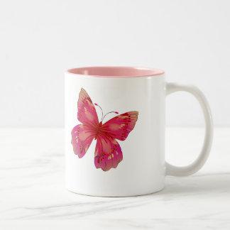 Pink Vintage pretty butterfly art Two-Tone Coffee Mug