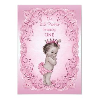 Pink Vintage Princess 1st Birthday Party Card