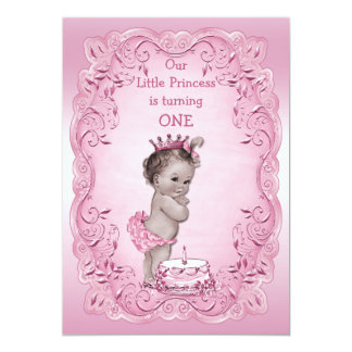 Pink Vintage Princess 1st Birthday Party 5x7 Paper Invitation Card
