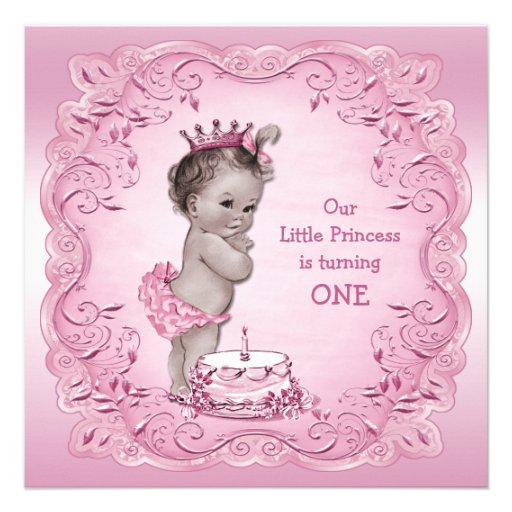 Pink Vintage Princess 1st Birthday Party Announcements