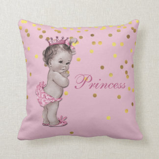 Pink Vintage Princess Baby Gold Confetti Throw Pillow