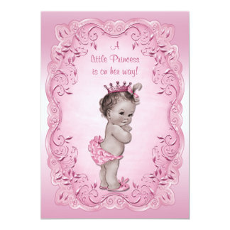 Pink Vintage Princess Baby Shower 5x7 Paper Invitation Card