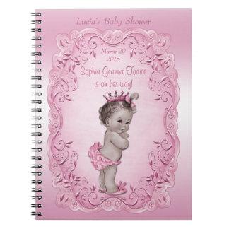 Pink Vintage Princess Baby Shower Guest Book Notebook
