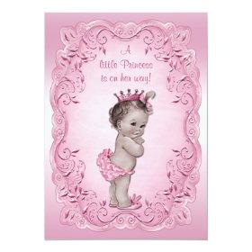Pink Vintage Princess Baby Shower 5x7 Paper Invitation Card
