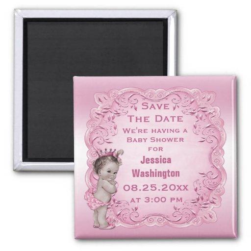 Pink Vintage Princess Baby Shower Save the Date Fridge Magnet