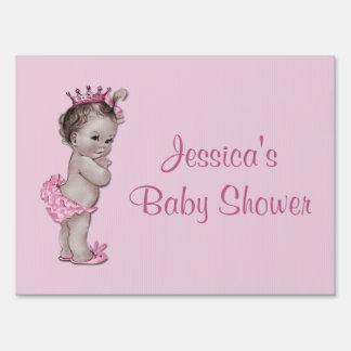 Pink Vintage Princess Baby Shower Lawn Sign
