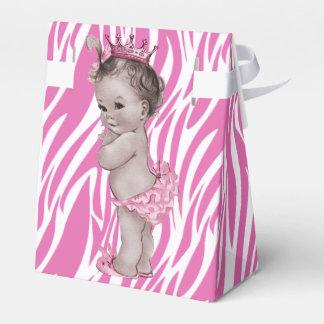 Pink Vintage Princess Baby Shower Zebra Pattern Favor Box