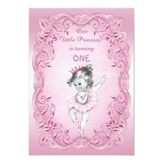 Pink Vintage Princess Ballerina 1st Birthday Party 5x7 Paper Invitation Card