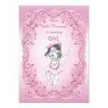 Pink Vintage Princess Ballerina 1st Birthday Party Card