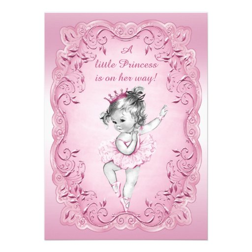 Pink Vintage Princess Ballerina Baby Shower Personalized Invitations