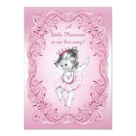 Pink Vintage Princess Ballerina Baby Shower 5x7 Paper Invitation Card