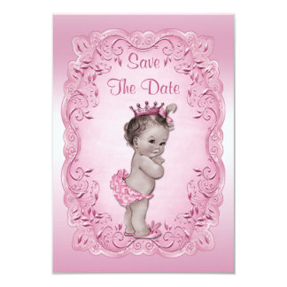 Pink Vintage Princess Save The Date Baby Shower 3.5x5 Paper Invitation Card
