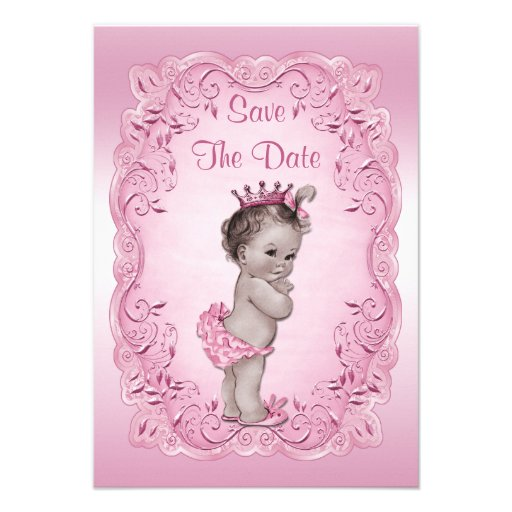 Pink Vintage Princess Save The Date Baby Shower Personalized Invitation